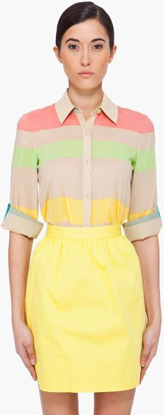 Alice + Olivia Multicolor Striped Silk Blouse in Multicolor - Lyst