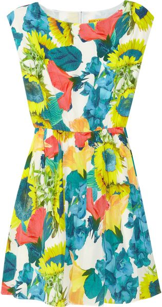 Alice + Olivia Alissa Floral Print Stretch Silk Georgette Dress - Lyst