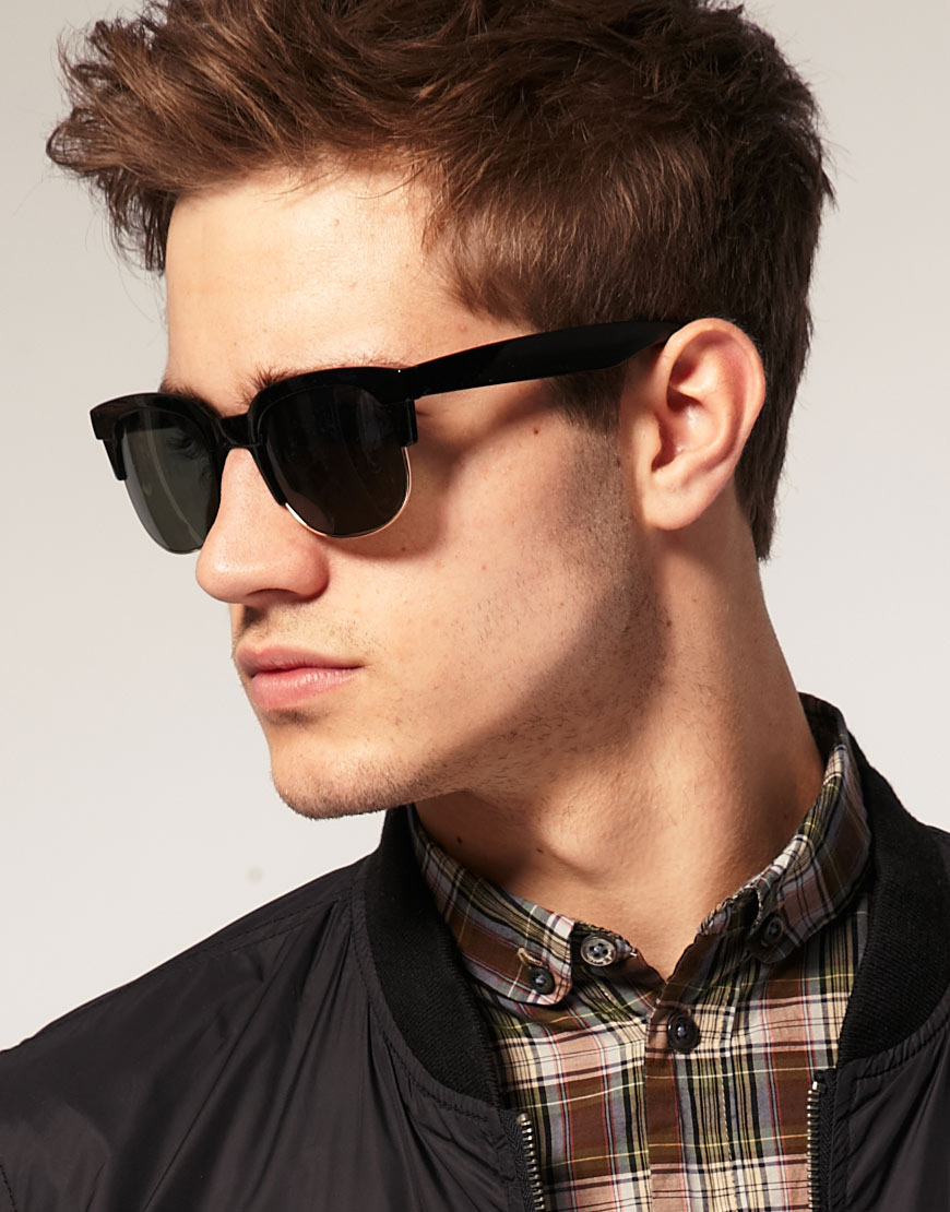 Clubmasters Sunglasses  asos large clubmaster sunglasses in black for men lyst