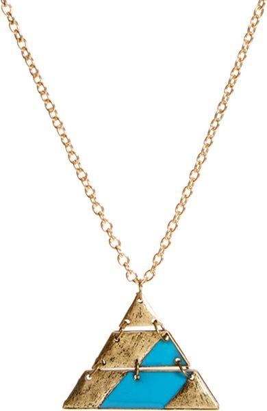 Asos Asos Aztec Triangle Pendant Necklace In Blue For Men