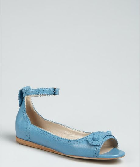 Balenciaga Blue Leather Peep Toe Ankle Strap Flats in Blue - Lyst