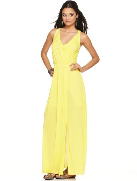 Bcbgmaxazria Sleeveless Pleated Vneck Maxi in Yellow - Lyst
