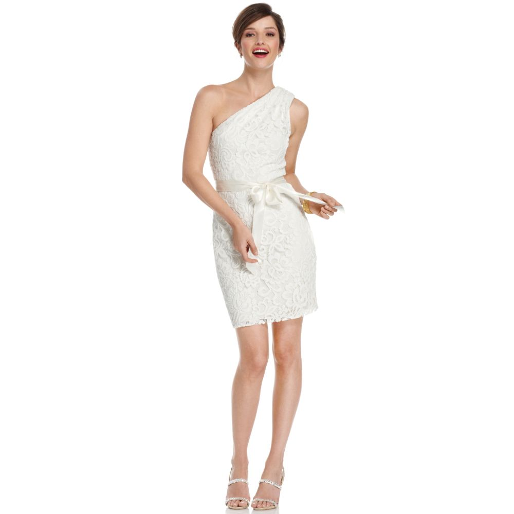 Betsy and adam one shoulder white dress