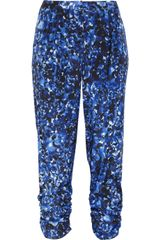 DKNY Printed Stretch Silk Crepe De Chine Pants - Lyst