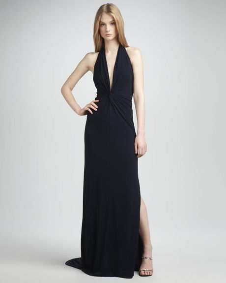 Halston Heritage Twistfront Halter Gown in Blue (midnight) - Lyst