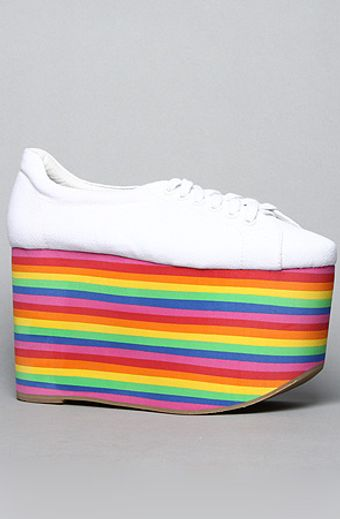 Jeffrey Campbell The Sporty Shoe in White Fabric and Rainbow - Lyst