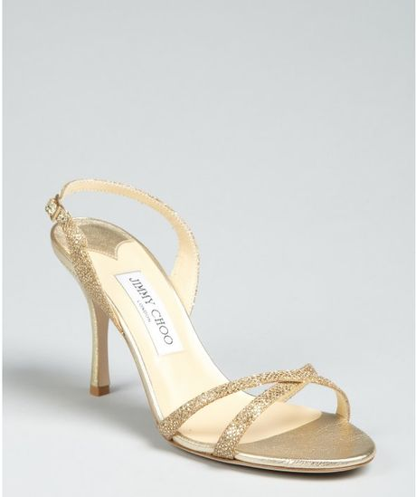 Jimmy Choo Gold Glitter India Sandals in Gold - Lyst