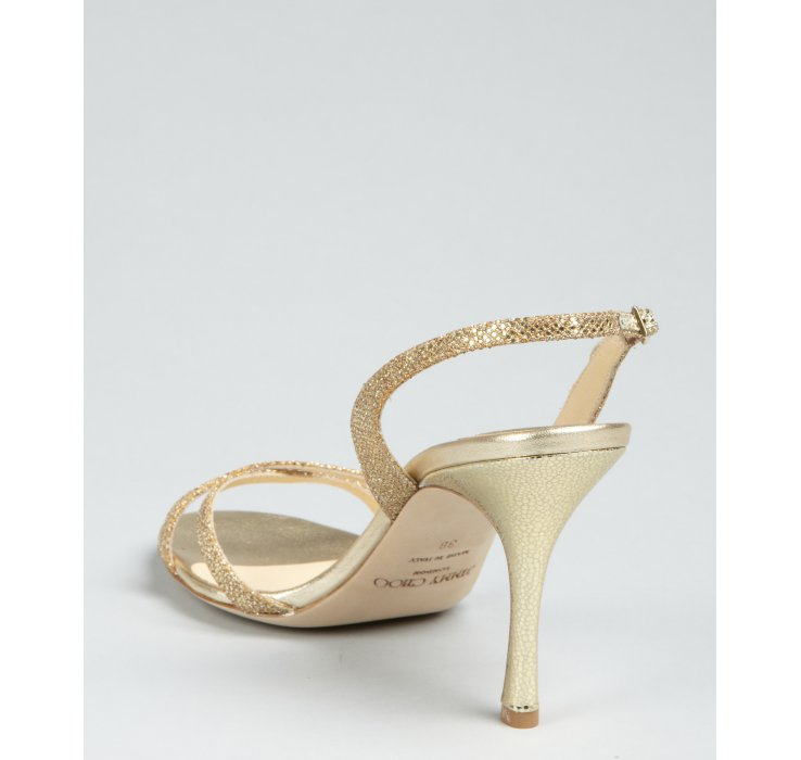 Jimmy Choo Gold Glitter India Sandals In Metallic Lyst