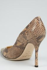 Jimmy Choo Nude Snake Print Leather Lilac Point Toe Pumps in Beige (nude) - Lyst