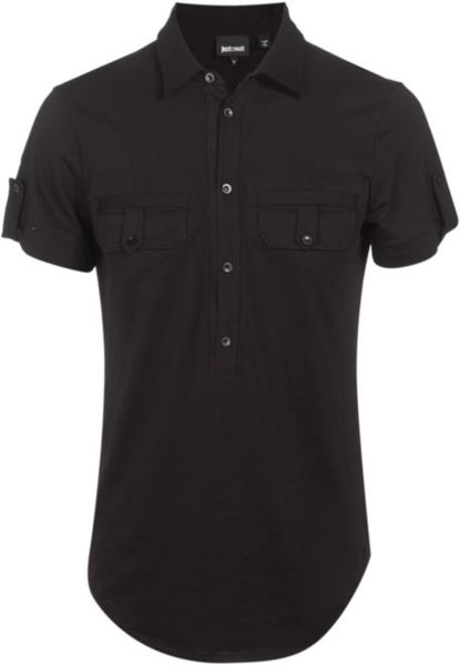 Just cavalli half button up polo shirt in black for men lyst for Womens button up polo shirts