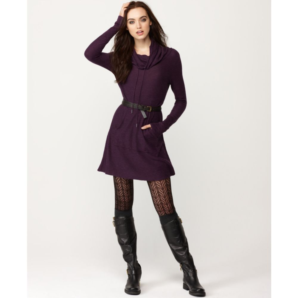 Kensie Hooded Long Sleeve A Line Sweater Dress in Purple | Lyst
