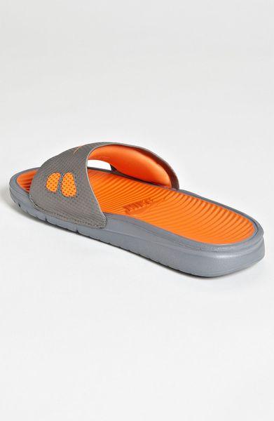 Nike Benassi Solarsoft Slide In Gray For Men Grey Orange