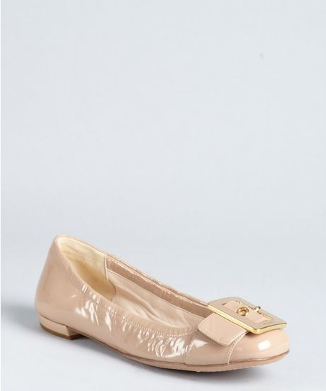 Prada Nude Patent Leather Buckle Detail Flats in Beige (nude) - Lyst