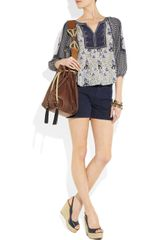 Rebecca Taylor Printed Silk Blouse in Blue (multicolored) - Lyst