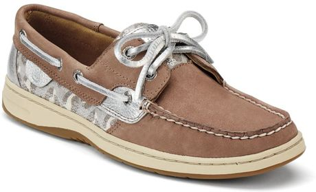 Sperry Top-sider Bluefish Boat Shoes in Brown (greige leopard sequins