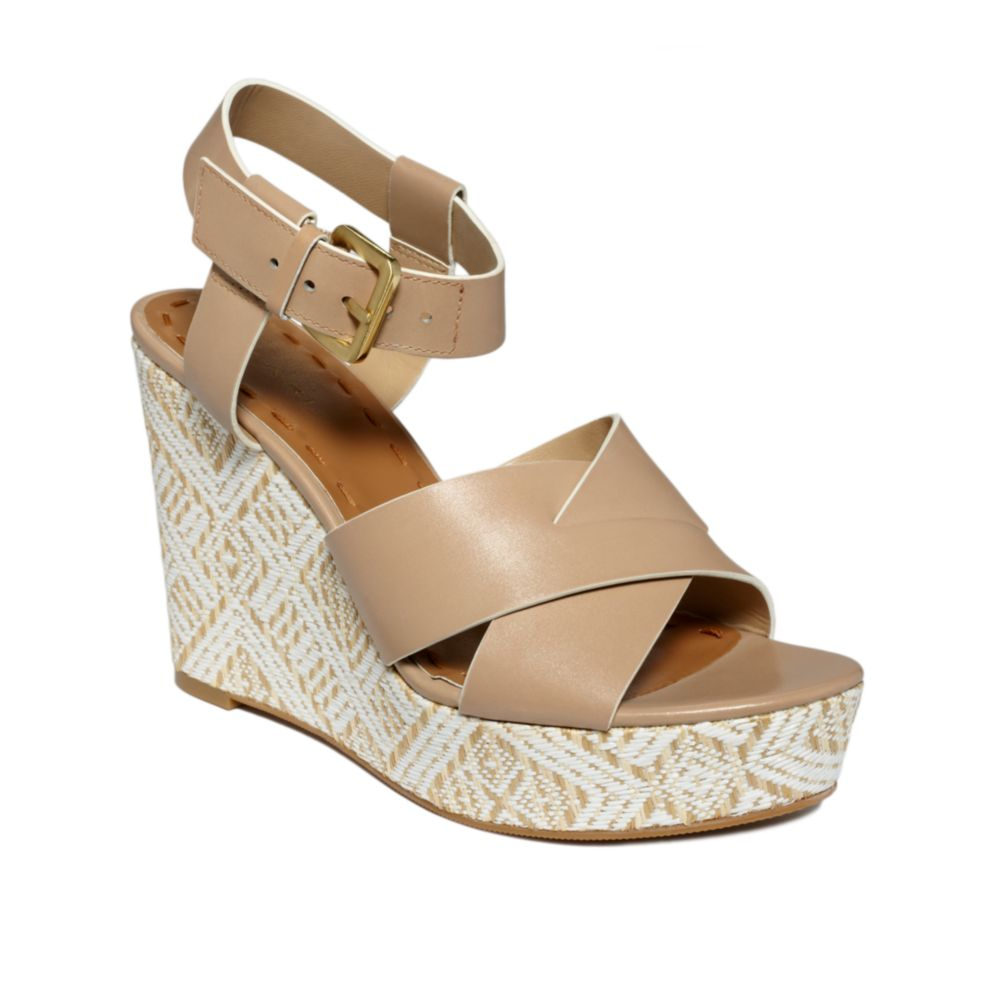 tahari stevie wedge sandals in beige oatmeal lyst