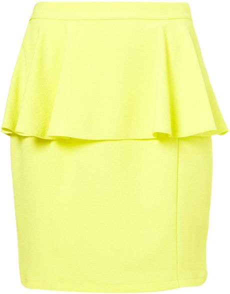 Topshop Textured Peplum Skirt in Yellow (lemon) - Lyst