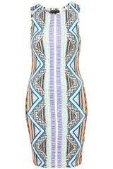 Topshop Aztec Stripe Bodycon Dress - Lyst