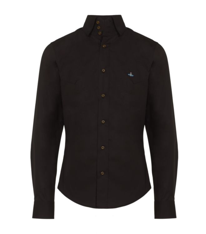 Vivienne westwood three button collar shirt in black for for Three button collar shirts