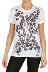 Saint Laurent Loo Print Cotton Jersey Tshirt in White - Lyst