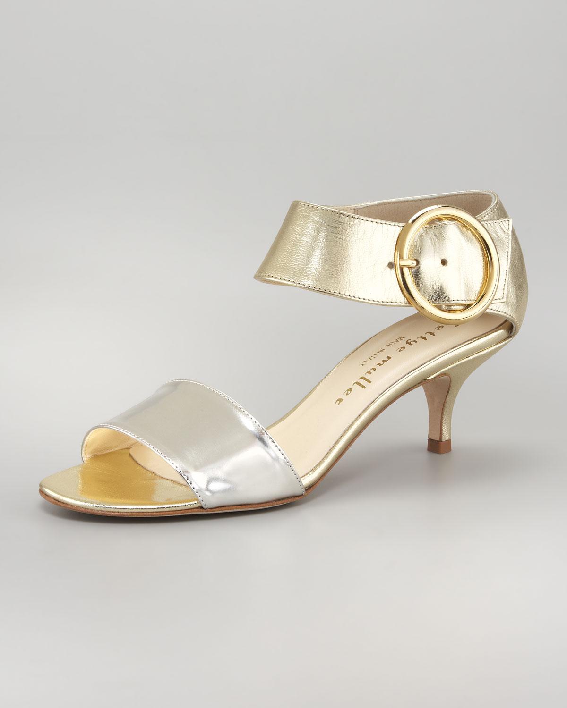 Bettye muller Bridget Metallic Kitten Heel Sandal in Metallic | Lyst
