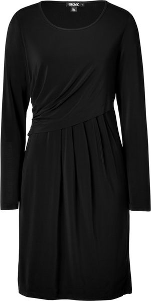 Dkny Black Draped Dress in Black - Lyst