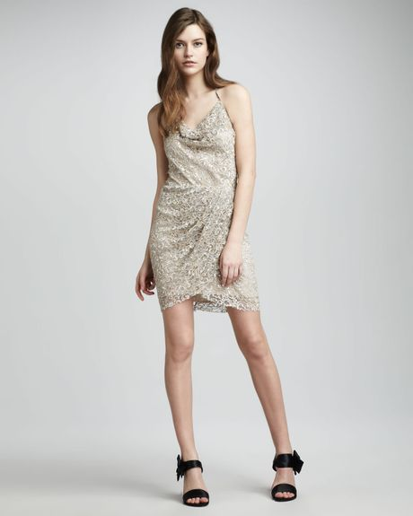 Haute Hippie Metallic Lace Bang Bang Dress in Silver - Lyst