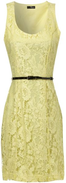 Jane Norman Lace Belt Shift Dress In Yellow Lyst