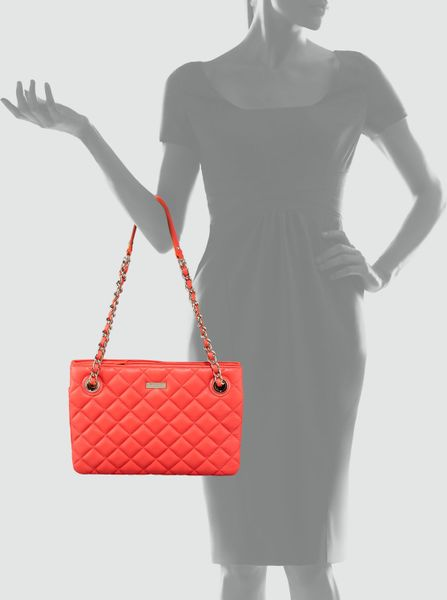 Kate Spade Leighton Quilted Leather Bag In Red Black Lyst