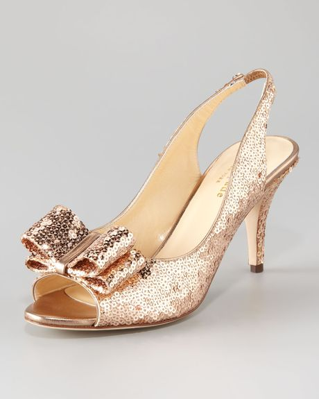 Kate Spade Sawyer Mini Sequin Slingback Pump in Pink (rose gold) - Lyst