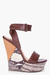 Lanvin Brown Snakeskin Puzzle Wedges - Lyst