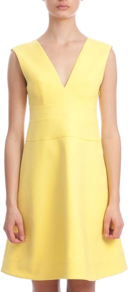 Marni Vneck Dress in Yellow - Lyst
