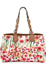 Milly Poppyprint Tote in Red (poppy print white) - Lyst