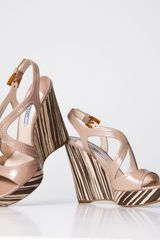 Prada Patent Leather Wood Wedge Sandal - Lyst