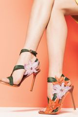 Sergio Rossi Embroidered Canvas Flower Sandal - Lyst