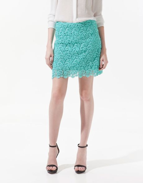 zara guipure lace mini skirt in blue turquoise lyst