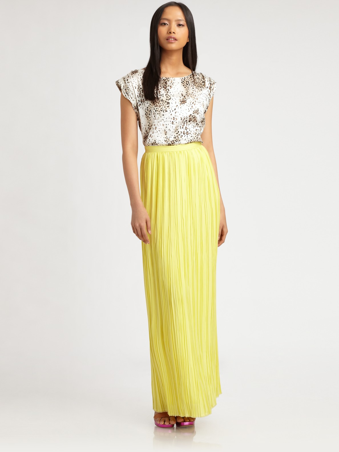 Yellow Pleated Maxi Skirt - Skirts