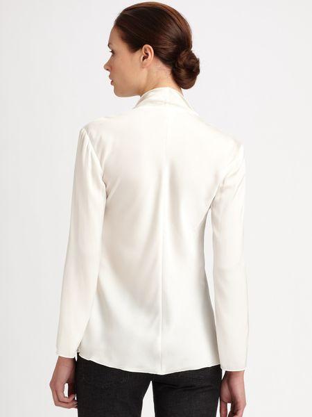 White Silk Ruffle Blouse 24