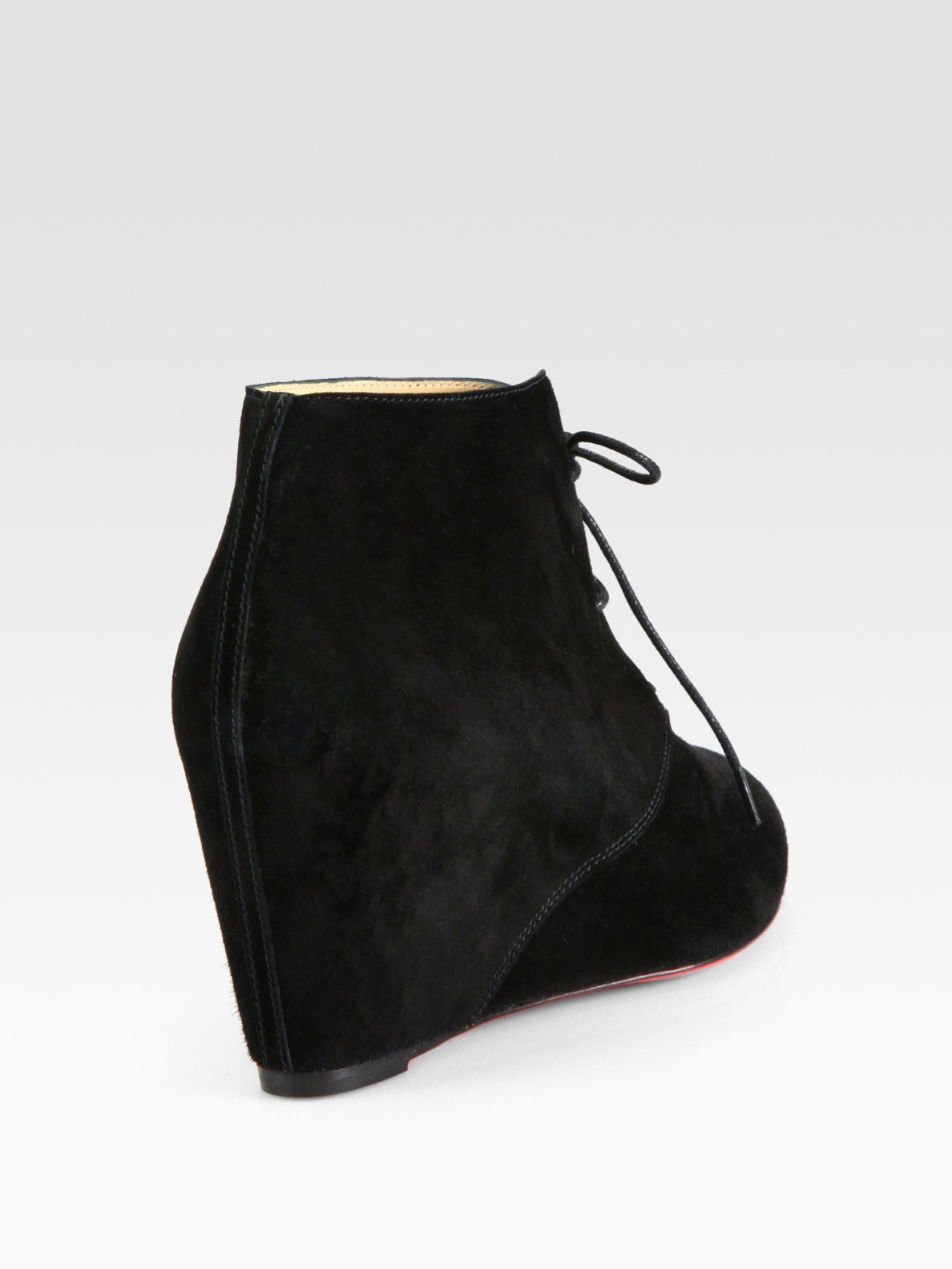 aaa replica shoes - Christian louboutin Laceup Suede Wedge Ankle Boots in Black | Lyst