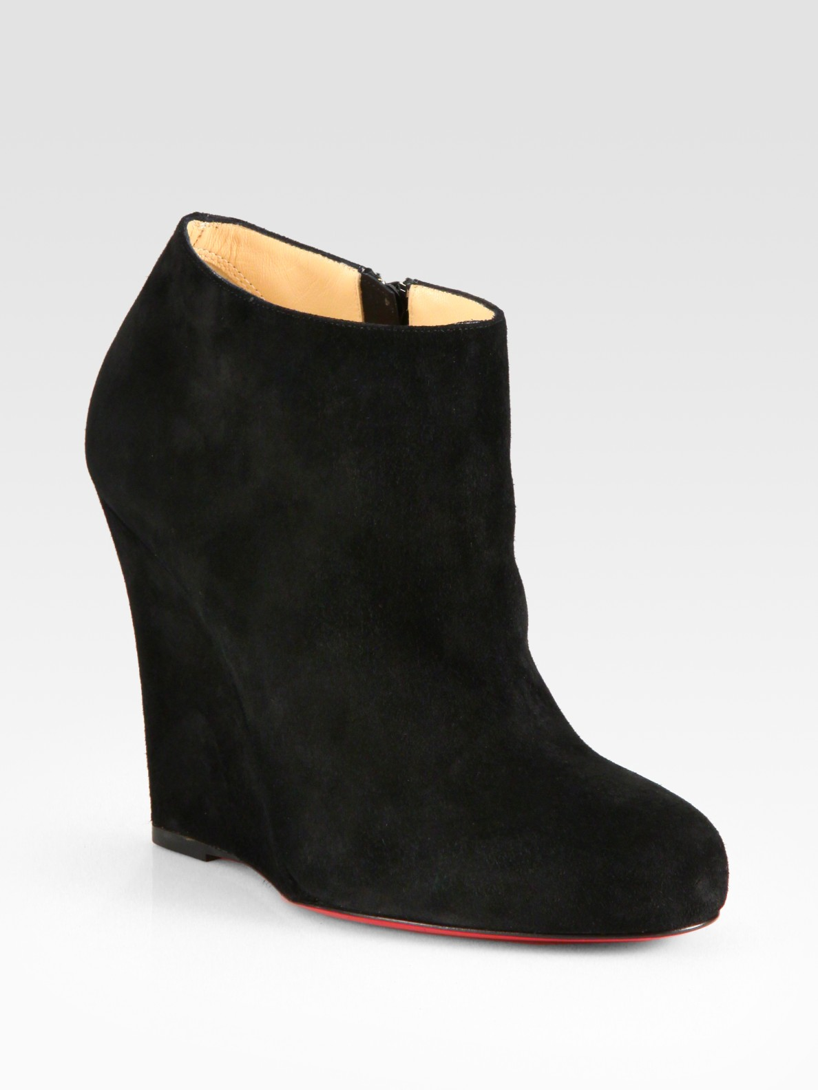Christian louboutin Suede Wedge Ankle Boots in Black | Lyst