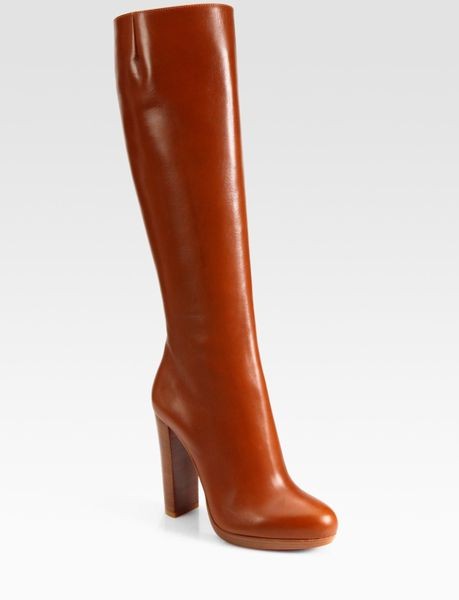 Christian Louboutin Leather Knee High Boots in Brown (tan) - Lyst