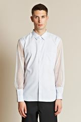 Comme Des Garçons Cotton Pin Stripe Ester Mesh Sleeve Shirt in Blue for Men - Lyst