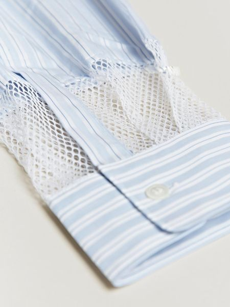 Comme Des Garçons Pin Stripe Ester Mesh Cuff Shirt in Blue for Men - Lyst