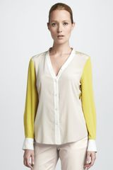 DKNY Colorblock Silk Blouse - Lyst