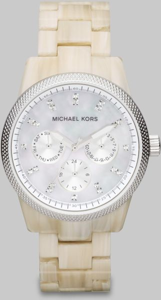 Michael Kors Crystal Accented Acetate Multifunction Watch in Beige - Lyst