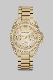 Michael Kors Crystal Accented Stainless Steel Multifunction Watch - Lyst