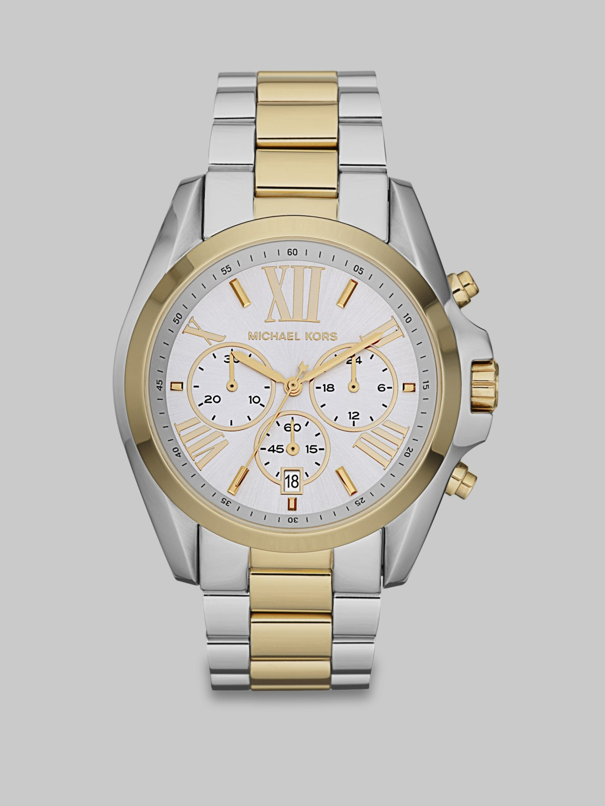 michael kors two tone stainless steel chronograph in