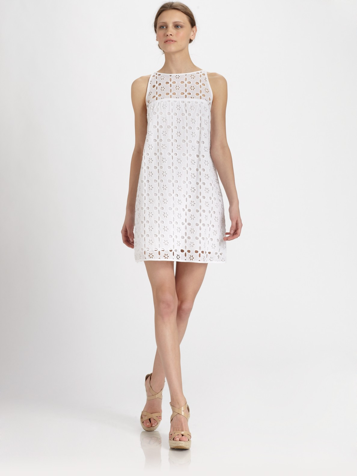 Milly Eyelet Shift Dress in White | Lyst