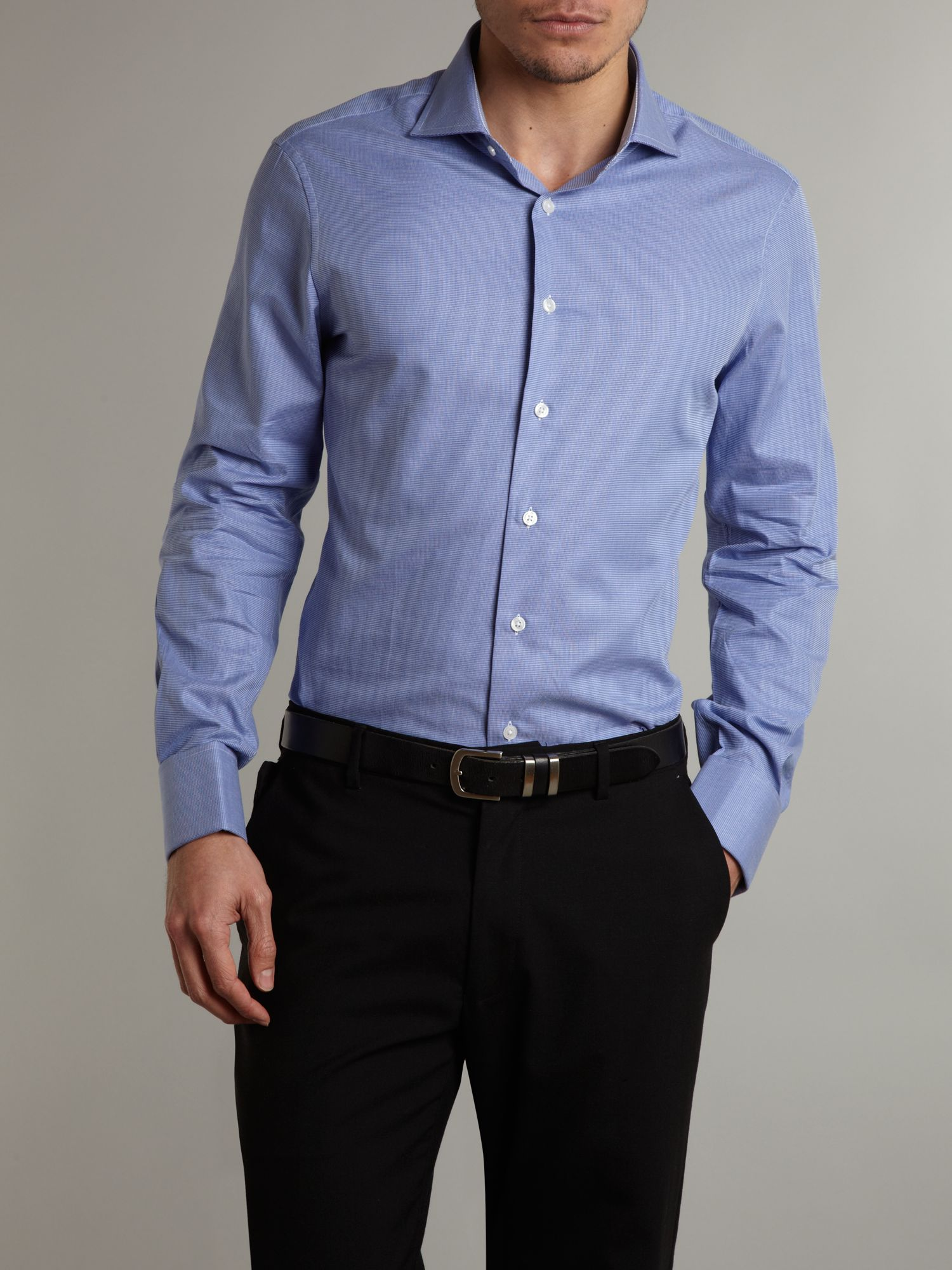 lyst arrow long sleeved micro check formal shirt in blue