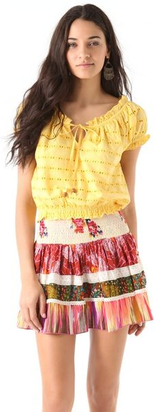 Dallin Chase Zavion Eyelet Top in Yellow - Lyst